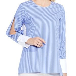 Vince Camuto Blue/white stripe Slit Sleeve Top